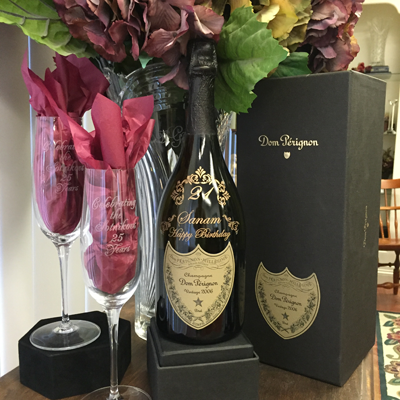Engraved Champagne Bottles